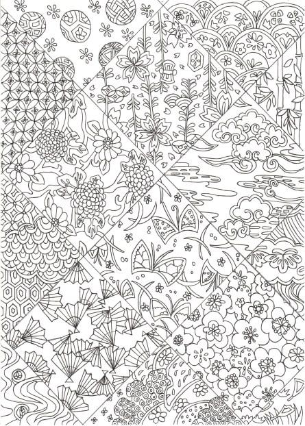 花の和紋様の塗り絵
