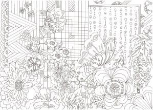 蝶と花の和紋様の塗り絵
