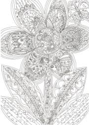 花のなかに模様のある塗り絵