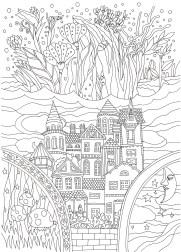 お城と花の塗り絵
