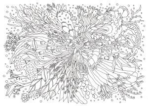 放射状の花の塗り絵