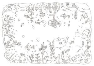 全方向の図柄の海の生き物の塗り絵