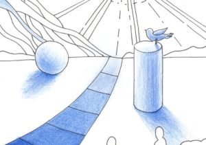 球と円柱の塗り絵