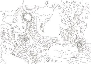 五匹の猫と花の塗り絵
