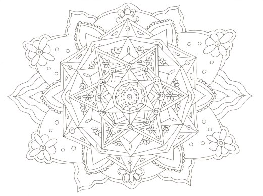 花模様のマンダラ塗り絵