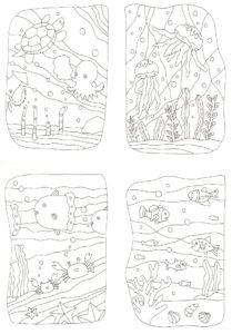 4枚組の海の生き物の塗り絵