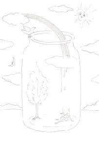 瓶の中の空想の塗り絵