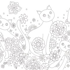 花模様と猫の塗り絵