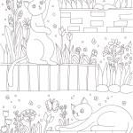 花壇で遊ぶ3匹の猫の塗り絵