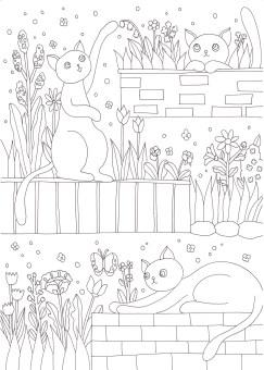 花壇で遊ぶ猫の塗り絵