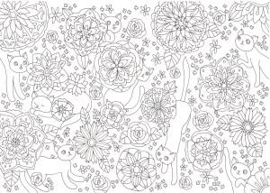 花と猫の細かい塗り絵