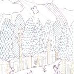 森を舞台にしたファンタジックな塗り絵