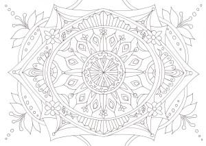 ユリの花をイメージしたマンダラ塗り絵