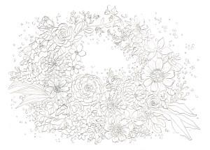 お花のリースの塗り絵