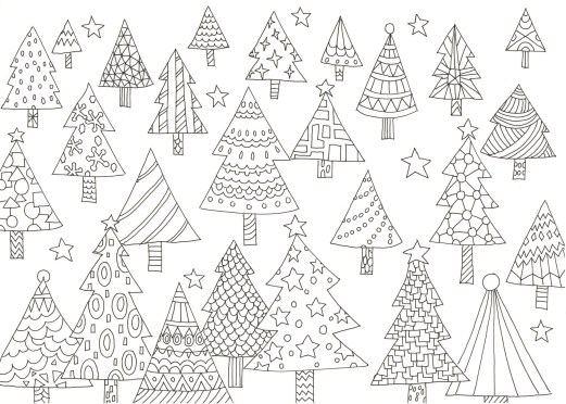 たくさんのクリスマスツリーの塗り絵