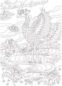 国宝の鳳凰像の塗り絵