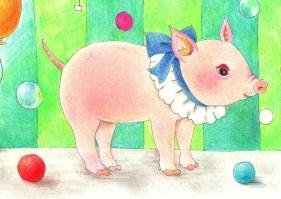 球と子豚の塗り絵