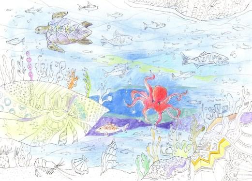 海の底の楽園の塗り絵