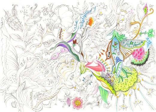 とても細かい花模様の塗り絵