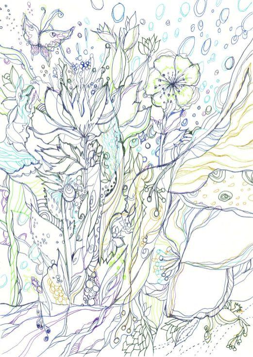 幻想的な花の塗り絵