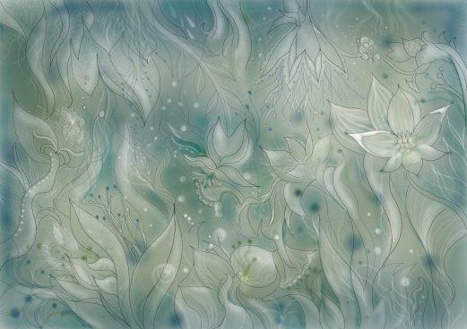 夜に咲く花の塗り絵
