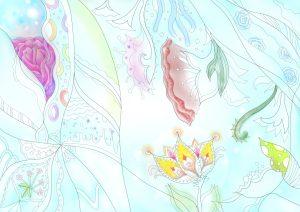 可憐な雰囲気の花の塗り絵