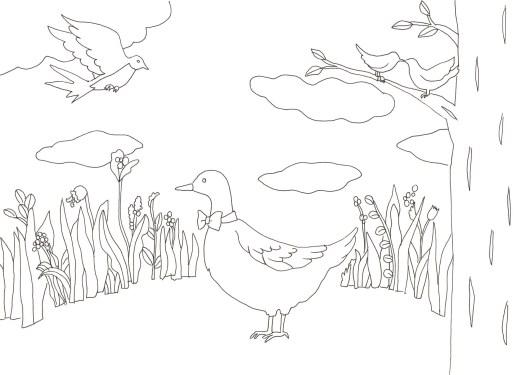 鳥が集う広場の塗り絵
