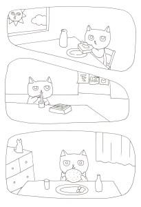 ご飯を食べている猫の塗り絵