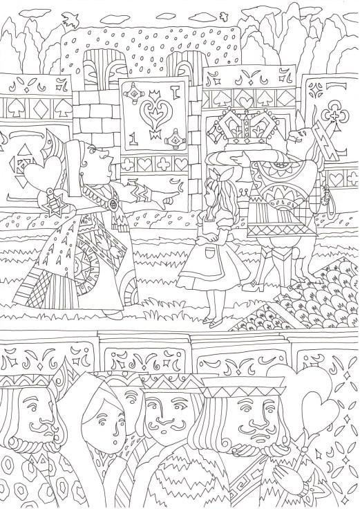 不思議の国のアリスの赤の女王のシーンの塗り絵