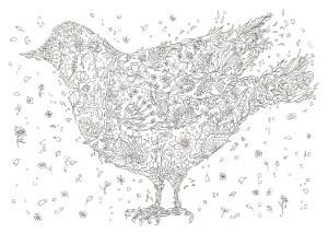 花が集まって鳥の形になっている塗り絵