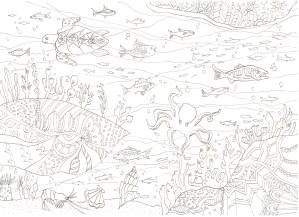 海の底のトロピカルな塗り絵