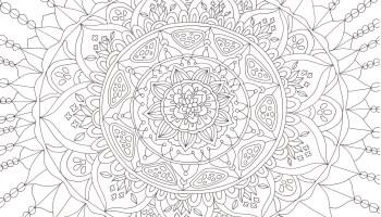 花模様でできたかわいらしい雰囲気のマンダラ塗り絵です ぬりえラボ