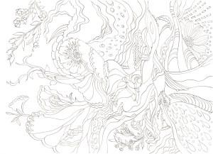 サイケデリックな花模様の塗り絵