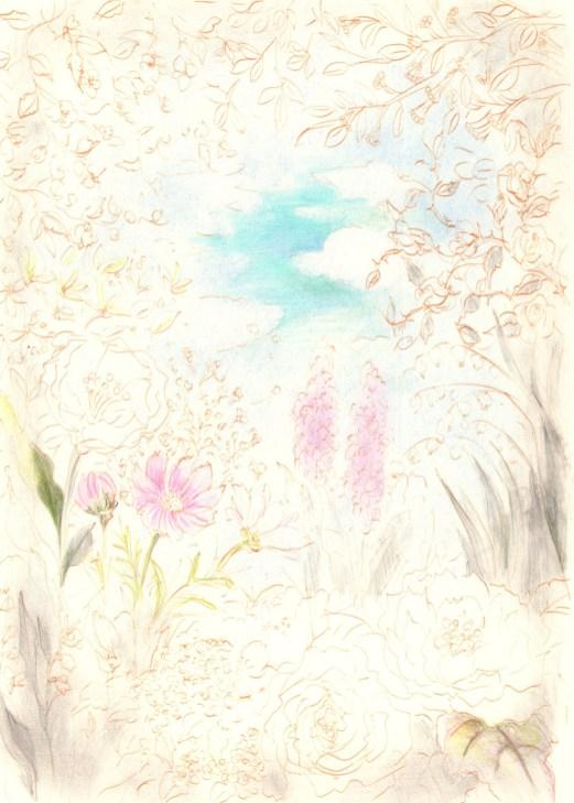 花園と向こう側に見える空の塗り絵