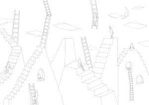 階段と梯子がたくさんある空想上の街の塗り絵