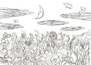 真昼の月と花園の塗り絵