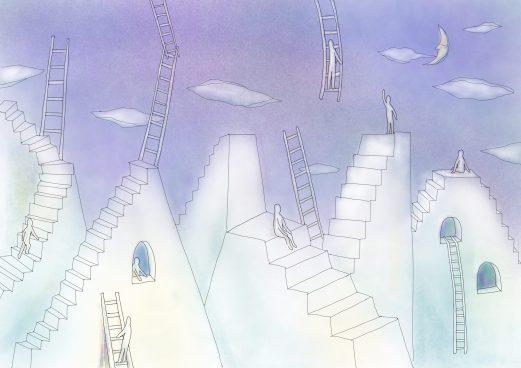 階段と梯子でできた空想の街の塗り絵