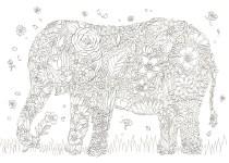 ゾウのスルエットの花のブーケの塗り絵