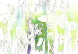 春の息吹を感じさせる花々の塗り絵