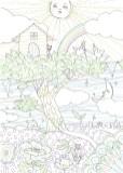 かわいい動物がツリーハウスに集まっている塗り絵