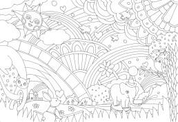 虹を囲む動物たちの塗り絵