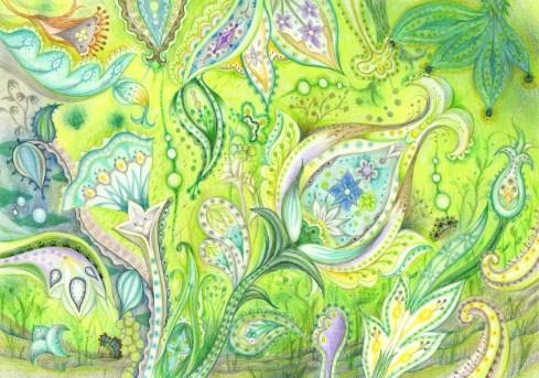 ペイズリー模様の塗り絵の例