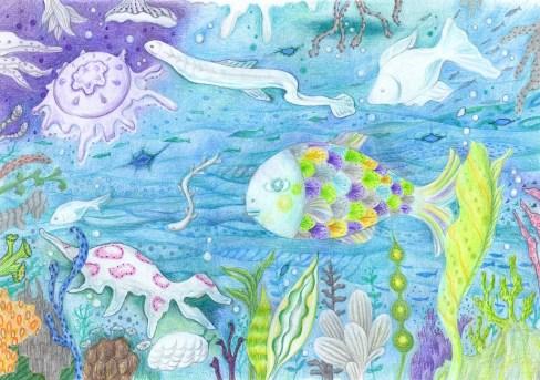 深海の魚の塗り絵