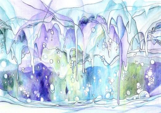 水をテーマにした抽象画塗り絵