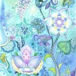 青い花の塗り絵の見本