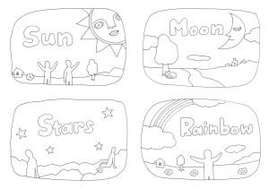 英単語Sun Moon Stars Rainbowの塗り絵