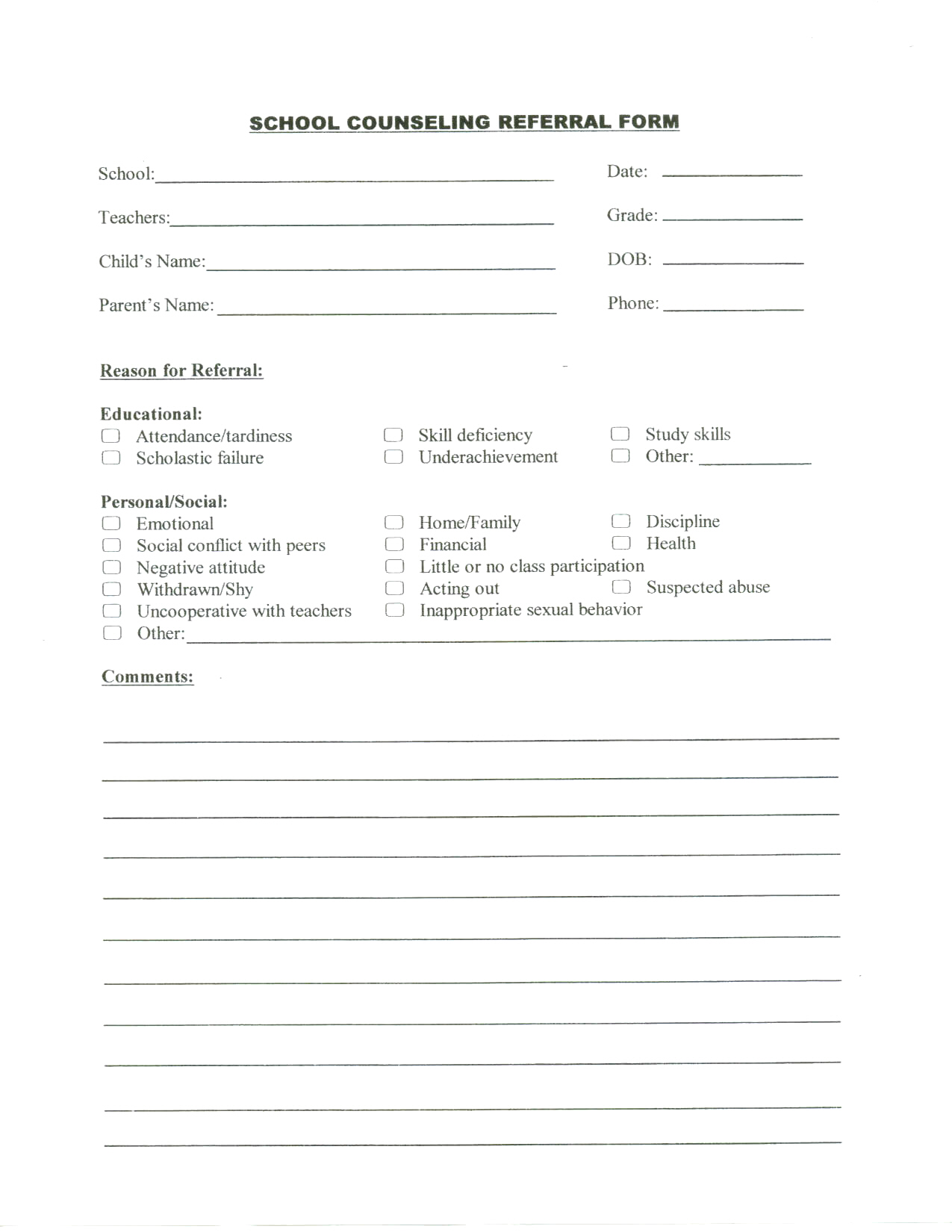 Nuriportfolio School Counseling Referral Form