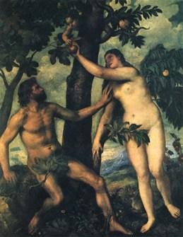 אדם וחוה של טיציאן, 1570 אדם, הססן, מנסה לעצור בעד חוה מלקחת את הפרי האסור מידי נחש בעל חזות ילד חמוד