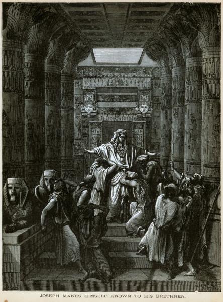 יוסף מגלה לאחיו את זהותו. תחריט של גוסטב דורה. Joseph Makes Himself Known to His Brethren. Etching by Gustave Doré.