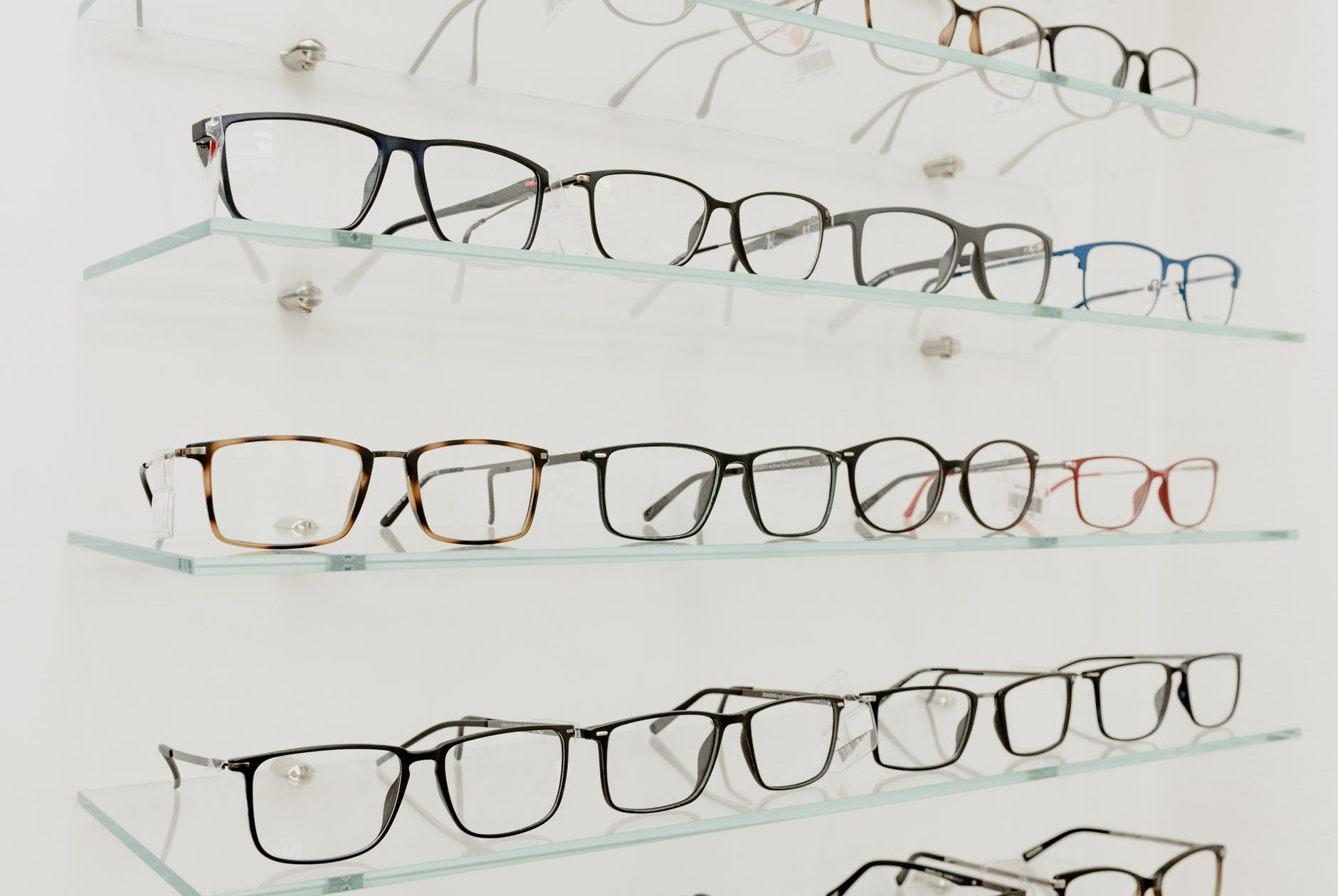 collection of eyeglasses on shelves in store